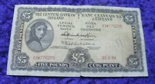 Irish 1964 Five Pound Note Old Ireland Lady Lavery £5 Banknote A Series