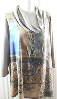 Chico's Women's Multicolor Knit Tunic/Top 3/4 Sleeve Turtle Neck Size 3
