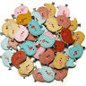 40pcs Mixed Color 2Holes Wood Sewing Button Scrapbooking Cute Bird Shaped  +