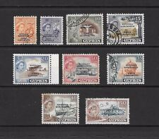 1960 Queen Elizabeth II SG188 to SG198 short set of 9 OPTD. stamps Used CYPRUS