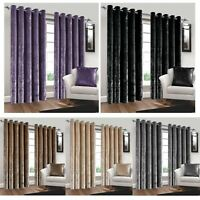 Pair Luxury Crushed Velvet Curtain Ring Top Eyelet Lined Super Soft Bedroom Home
