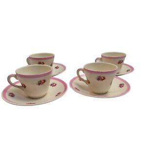 Vintage Swinnertons Staffordshire England Espresso 4 Cups And Saucers