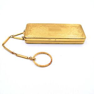 Richard Hudnut DuBarry Dance Purse Compact Finger Ring Embossed Gold Antique