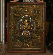 "38"" Old Tibet Buddhism Temple Wood Bronze 4 arms Chenrezig Buddha Tangka Thangka"