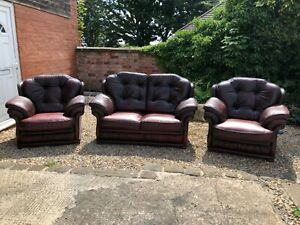 Oxblood red leather chesterfield suite 3 piece full genuine leather CAN DELIVER