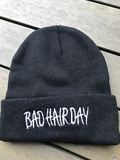 Men Women Bad Hair Day Novelty Black Warm Winter Knit Ski Funny Beanie Hat