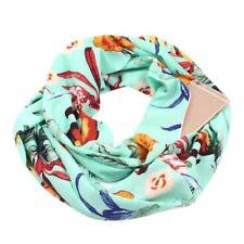 Womens Infinity Loop Scarf Floral Leaves Printed Vintage Wrap Shawl with Pocket