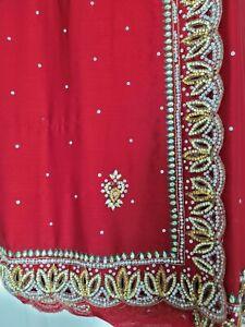 Red Silky Sari Saree with Gold Diamante Border Stitched Blouse Wedding Bridal