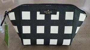 NWT Kate Spade NY Small Eady Grove Street Pop Art Check Cosmetic Bag Makeup Case