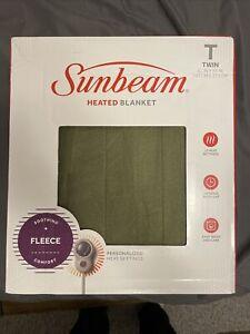 Sunbeam Electric Blanket Fleece Twin Size Navy Blue 62X84 Electric Blanket