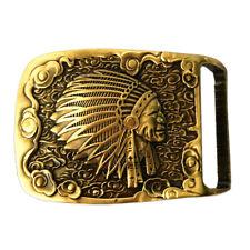 Indian Head Belt Buckle Solid  Brass Shiny Vintage Antique Western Cowboy Boucle