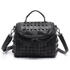Women Genuine Leather Shoulder Bag Handbag Black Messenger Bag Rivets