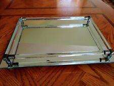 Vintage Mirrored Glass Vanity Perfume Tray 11x8