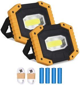 2pcs 30W Rechargeable Portable led Work Light Security Floodlight Spotlight USB