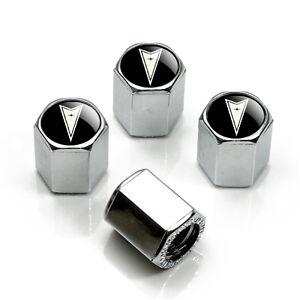 Pontiac Black Logo Chrome Tire Stem Valve Caps