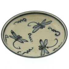 "12 x Japanese 4""Blu 3-Dragonflies Flight  Small Plates #160-939"