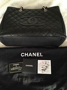 Authentic CHANEL Grand Shopper Tote GST   Black Caviar Leather Silver Hardware