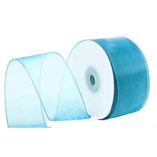 "1/4"" Plain Sheer Organza Nylon Ribbon 25 Yards - Turquoise"