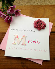 "Luxury Handmade Mother's Day Card ""M"" - Mum Nan Grandmother"