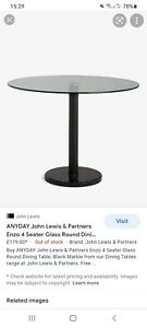John Lewis & Partners Enzo 4 Seater Glass Round Dining Table, Black Marble