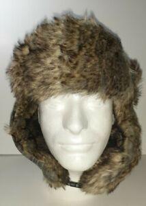 NWT Saddlebred Plaid Faux Fur Polyester Trapper Hat Adult Sm/Med Gray/Blue/Black
