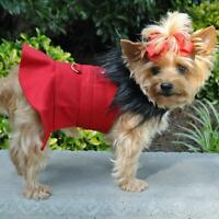 Wool Fur-Trimmed Dog Harness Coat by Doggie Design - Red