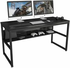 ELEGANT 55'' Gaming Computer Desk with Storage Bookshelf Metal Home Office Black