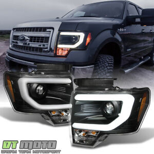 Black 2009-2014 Ford F150 Raptor SVT LED Tube DRL Projector Headlights Headlamps