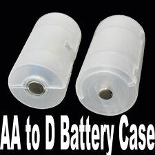 2pcs AA to D Size Cell Battery Adaptor Holder Case Converter Switcher EW