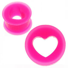 Pink Silicone Tunnel Ear Plugs with Heart Shaped Cut-Out! 5mm to 24mm