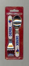 Personalized Fork & Spoon Set  ~ DEREK ~ Stocking Stuffer ~ Balloons ~ Gift