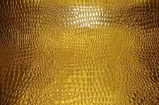 """vinyl upholstery faux leather Crocodile faux vinyl Gold fabric BTY 54"""" ROLLED"""