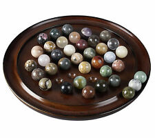 "Solitaire Wooden Game Solid Gemstone Marbles 20mm (0.787"") Authentic Models New"