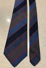 BALLY Switzerland 100% Silk Jacquard with Stripes, Choc & Navy  Combo, Print Tie