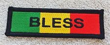 RASTA BLESS PATCH Cloth Badge/Emblem Biker Jacket Rastafarian Flag Africa Jah