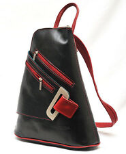 Genuine Leather Made in Italy  Black + Red Rucksack Backpack Shoulderbag Citybag