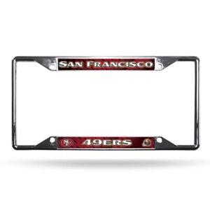 San Francisco 49ers NFL Chrome EZ View 4 corner License Plate Frame