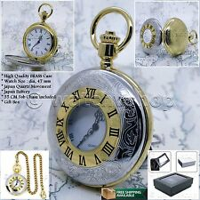 Silver Gold  Antique Solid BRASS Mens Quartz Pocket Watch Gift Fob Chain Box P53