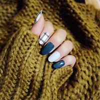 24 Stk Süßer Stil Schwarz Grün Weiß Selbstklebende Kunstnägel Nagelspitzen Dekor