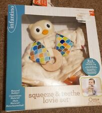 Baby Natural Rubber Teether Owl Soother & Teething Ring Lovie Set 0 Months +