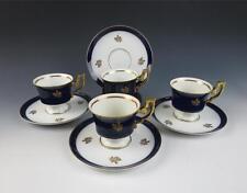 Set of 4 HEINRICH Cups & Saucers Porcelain COBALT & GOLD w/ Roses Germany White