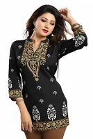 New Indian Bollywood Short Black Printed Tunic Tops Blouse Kurtis Women Crepe