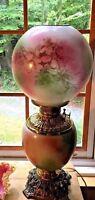 Antique Fostoria GWTW Hurricane Oil Lamp Floral Design Electrified 3-Way