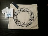 """Moomin Park Japan limited Zippered Pouch8""""× 8.5""""Canvas mono tone all characters"""