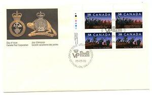 Canada sc#1250ii Canadian Infantery Regiments, UL CBN Plate Block N°1, FDC