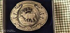 Montana Centennial commemorative Elk belt buckle - Pewter with sapphire