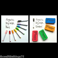 8 Colori Set MAGNETICO BIANCO BOARD MARKER PENNE & 1 Gomma MAGNETICA