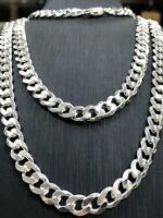 Necklace Flat Curb Solid 925 Sterling Silver Mens Chain Italian Style Heavy 7MM