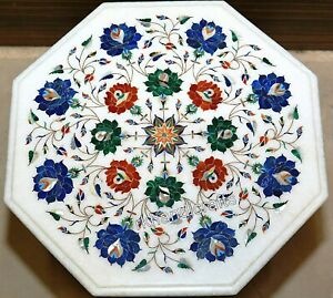 Multi Gemstones Inlay Work Coffee Table Top Marble Bed Side Table Size 16 Inches