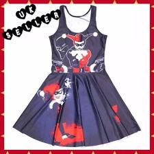 "New Harley Quinn Black Stretchy Skater Dress Extra Small 26"" XS Batman UK 6-8"